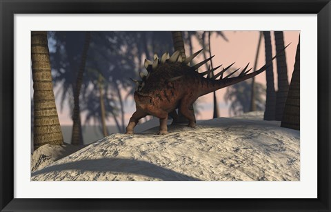 Framed Kentrosaurus Roaming in the Tropics Print