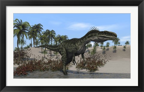 Framed Monolophosaurus Walking in Water Print