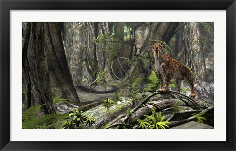 Framed Saber-Toothed Tiger in a Forest Print