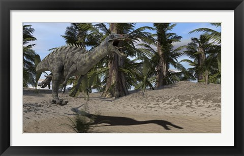 Framed Suchomimus Hunting Print