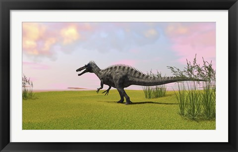 Framed Suchomimus Walking in Grass Print