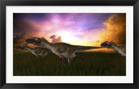 Framed Three Utahraptors Running at Sunset Print