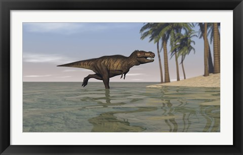 Framed Tyrannosaurus Rex Hunting in Water Print