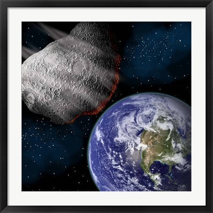 Framed Asteroid Approaching Earth Print