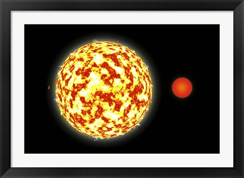 Framed Binary Star System and Planets Print
