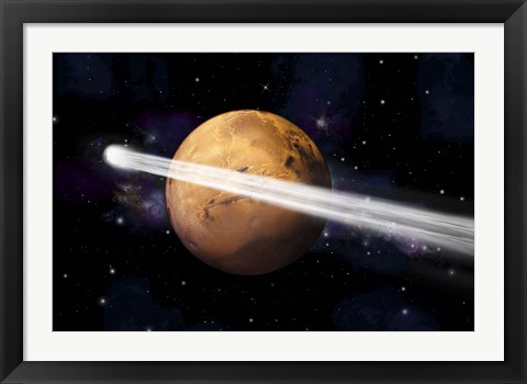 Framed Comet Passing by Mars Print