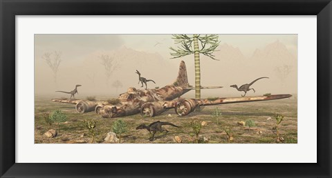 Framed Velociraptors and a B-17 Print