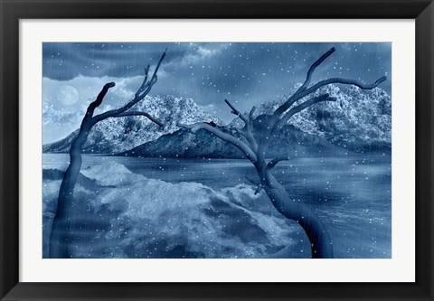 Framed Snow Covered Landscape Print