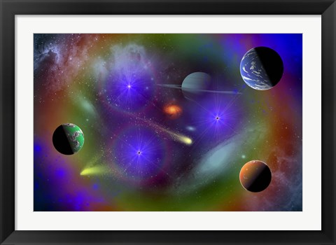 Framed Conceptual Image of Outer Space Print