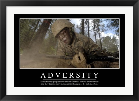Framed Adversity: Inspirational Quote and Motivational Poster Print