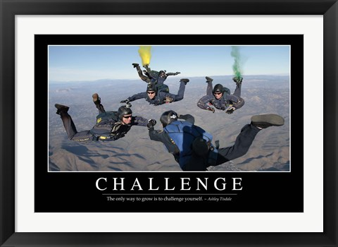 Framed Challenge: Inspirational Quote and Motivational Poster Print