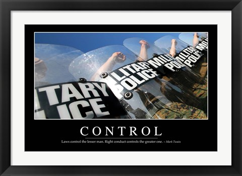 Framed Control: Inspirational Quote and Motivational Poster Print