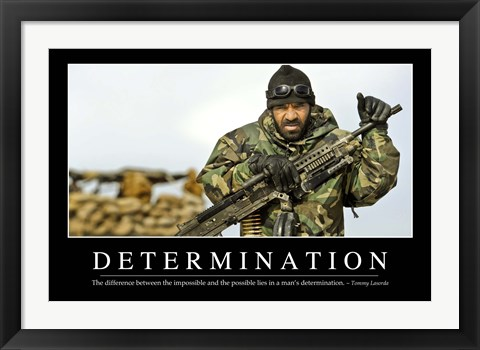 Framed Determination: Inspirational Quote and Motivational Poster Print
