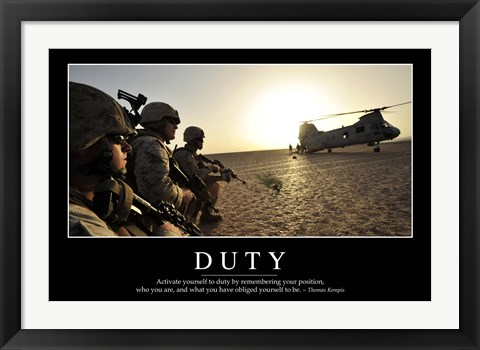 Framed Duty: Inspirational Quote and Motivational Poster Print