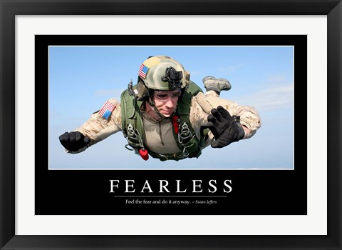 Framed Fearless: Inspirational Quote and Motivational Poster Print