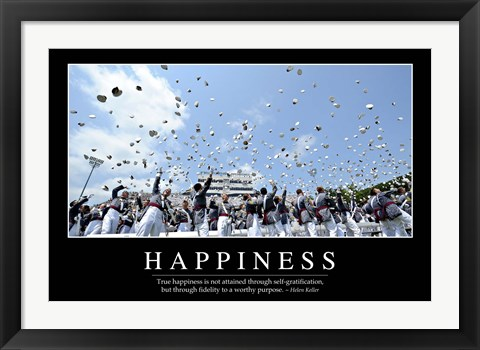 Framed Happiness: Inspirational Quote and Motivational Poster Print