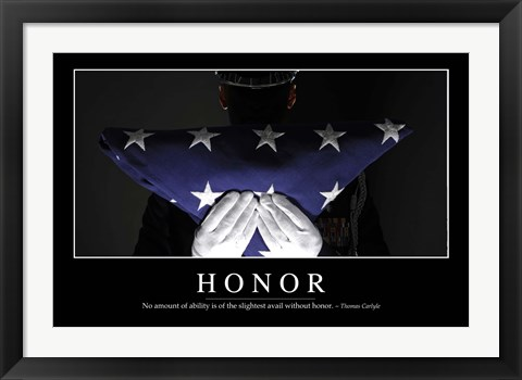 Framed Honor: Inspirational Quote and Motivational Poster Print