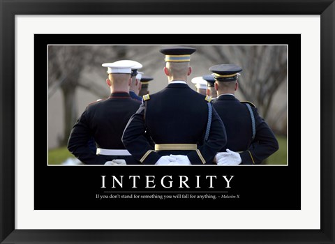 Framed Integrity: Inspirational Quote and Motivational Poster Print