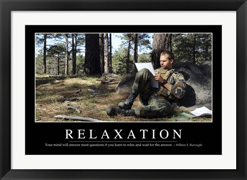 Framed Relaxation: Inspirational Quote and Motivational Poster Print