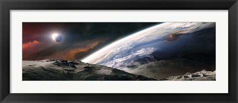 Framed Two Astronauts Exploring a Moon Print