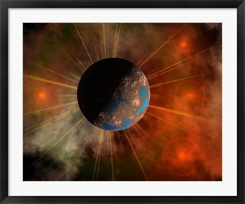 Framed Alien World with Oceans Print