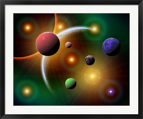 Framed Stars and Planets in the Milky Way Galaxy Print