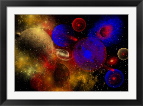 Framed Colorful Universe and Stars Print
