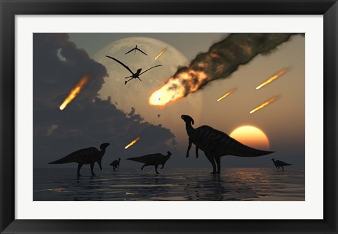 Framed Hadrosaurs and Meteors Print