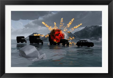 Framed Military Vehicles with a Truck Exploding Print