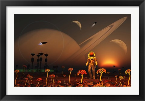 Framed Moon of a Distant Alien World Print
