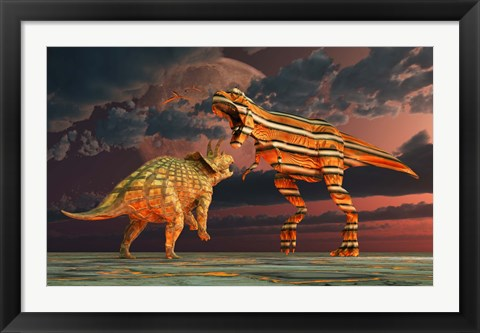 Framed Robotic T Rex & Triceratops Battle Print