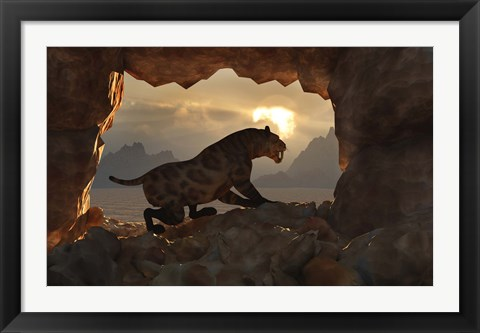 Framed Sabre Tooth Tiger at Home Print