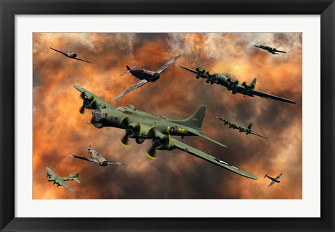 Framed American and German Aircraft Print