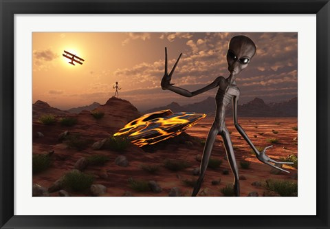 Framed Grey Aliens at the Site of Their UFO crash Print