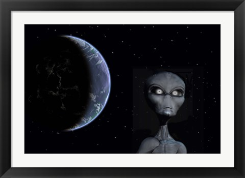 Framed Grey Alien Print
