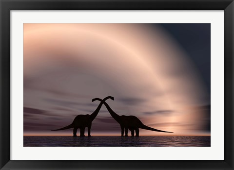 Framed Courting Dinosaurs Print