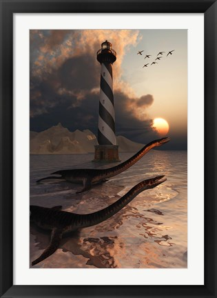 Framed Plesiosaurs on a Sandbank Print