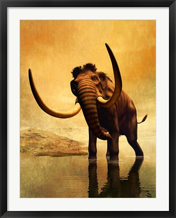Framed Wooly Mammoth and Sunset Print
