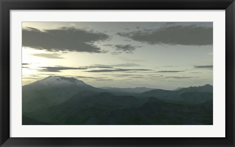 Framed Terragen Render at Twilight Print
