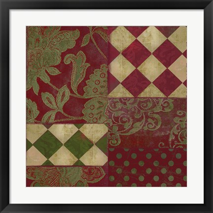 Framed Merry Christmas Patchwork II Print