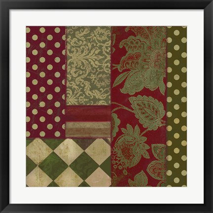 Framed Merry Christmas Patchwork III Print