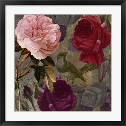 Framed Birds and Roses II Print