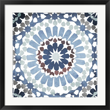 Framed Moroccan Blues IV Print