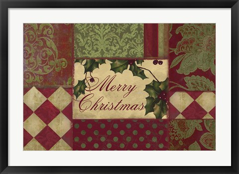 Framed Merry Christmas Patchwork I Print