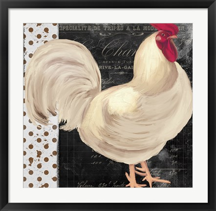 Framed White Rooster Cafe I Print