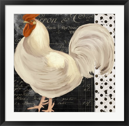 Framed White Rooster Cafe II Print