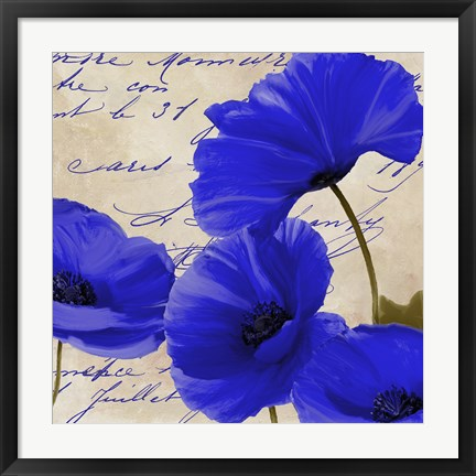 Framed Coquelicots Bleues I Print
