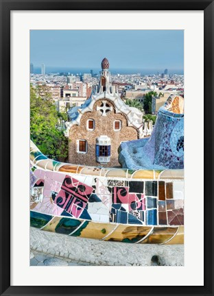 Framed Spain, Catalonia, Barcelona, Park Guell Terrace Print
