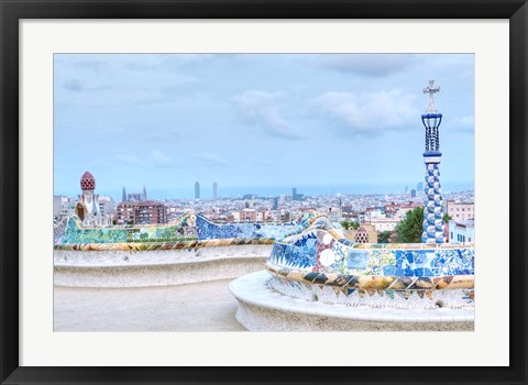 Framed Park Guell Terrace, Barcelona, Spain Print