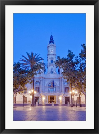 Framed City Hall (Ayuntamiento) at Dawn, Valencia, Spain Print